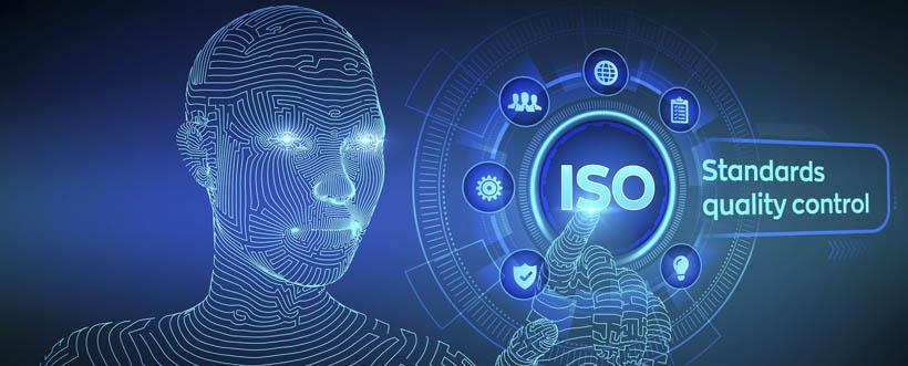 imagem ilustrativa de robô e escrita ISO, de gestão da qualidade